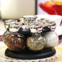 6pcs/set Ratary seasoning storage spice bottle rack kitchen salt and pepper cruet condiment set condimento containers for spices
