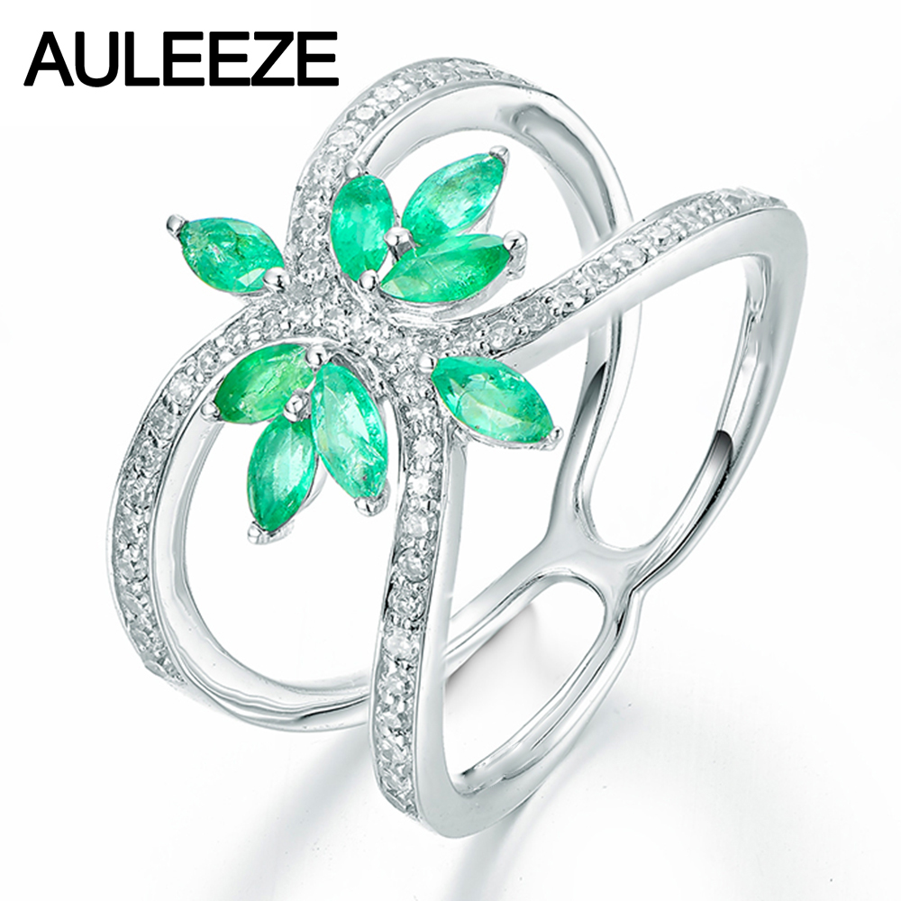 Floral Marquise Cut Natural Emerald Engagement Rings For Women Solid 9k  White Gold Simulated Diamond Ring