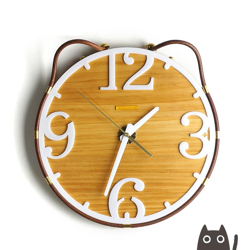 Projeto do gato de madeira criativo modelagem início relógio de parede de madeira relógio de parede Personalidade pequeno fresco