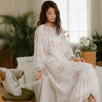 Autumn Winter NEW Women Nightgowns Royal Princess Sleepwear Rose Printed Mesh Nightdress Long-Sleeve Sexy Sleeping Dress 8801