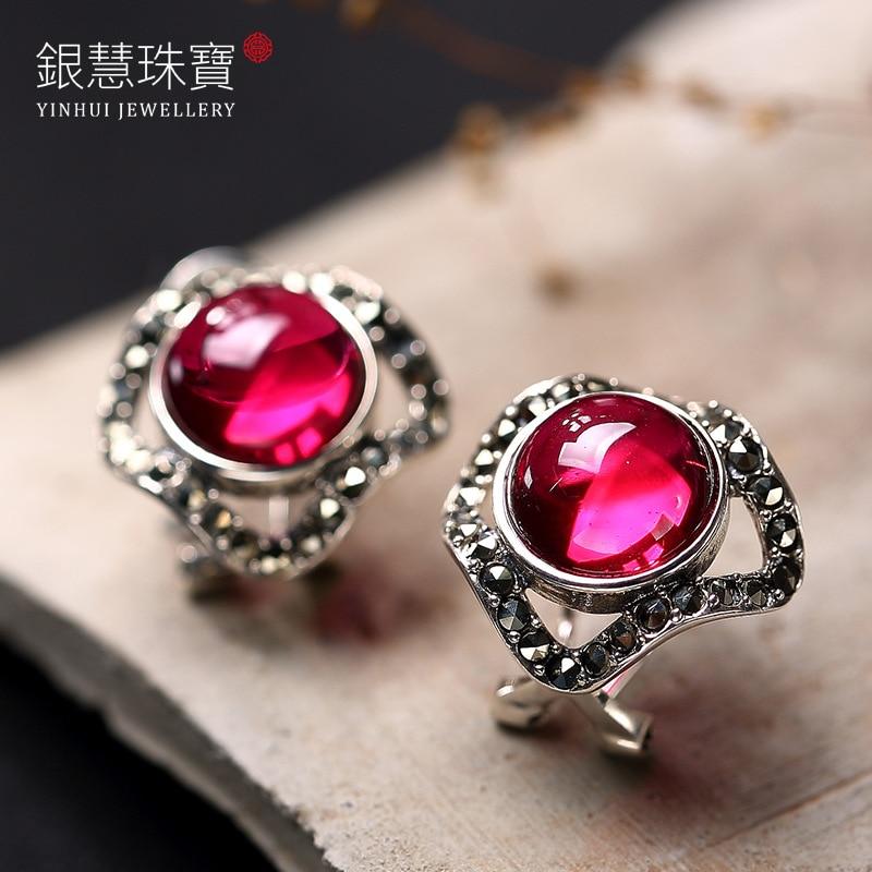 S925 Pure Silver Red Corundum Gems Thai Silver Ways Of High-grade Mark The Stud Earrings Earrings
