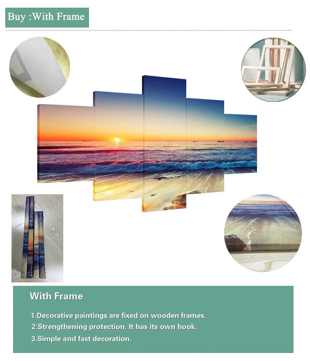 5 Pieces DIY Custom Decorative Painting Poster Modern Wall Decorative Modular Framework Picture Canvas Printed One Set Painting