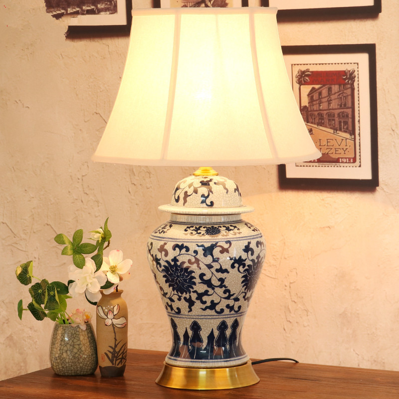 US $256.0 |Art Chinese porcelain ceramic table lamp bedroom living room  wedding table lamp Jingdezhen ceramic table lamps for living room-in Table  ...