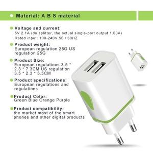 Image 4 - Dual USB מטען 5V 2.1A נייד טלפון מטען עבור iphone סמסונג Huawei Xiaomi Redmi LED אור טעינת מתאם קיר מטענים