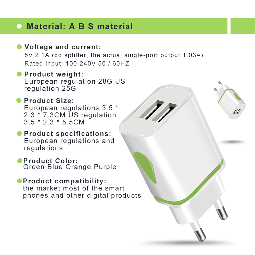 Image 4 - Dual USB Charger 5V 2.1A Mobile Phone Charger for iphone Samsung Huawei Xiaomi Redmi LED Light Charging Adapter Wall Chargers-in Mobile Phone Chargers from Cellphones & Telecommunications