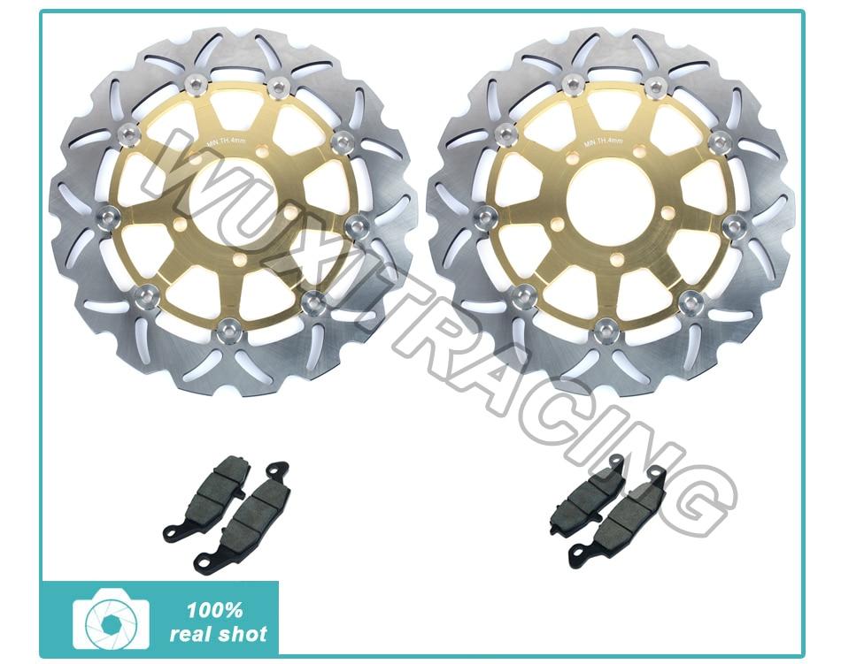 Golden Front Brake Discs Rotors + Brake Pads for Suzuki GSF 650 S Bandit 05 06 SV 650 / S K3 K4 K5 K6 K7 K8 K9 GSX 750 F