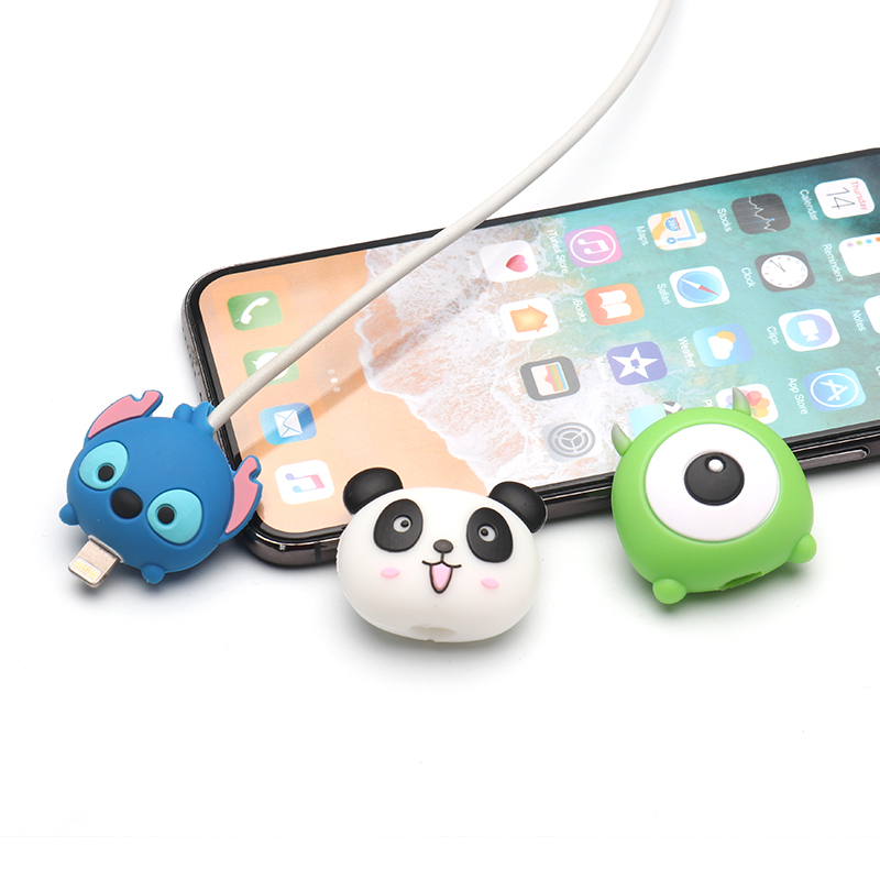 Cute Cartoon animal cable protector for iphone usb cable chompers charger holder wire organizer For  phone accessories