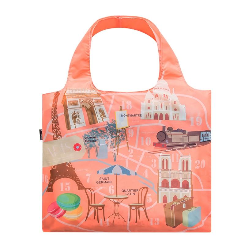 Lightweight Polyester Waterproof Shopping Bag Folding Portable Women Travel Single Shoulder Bag