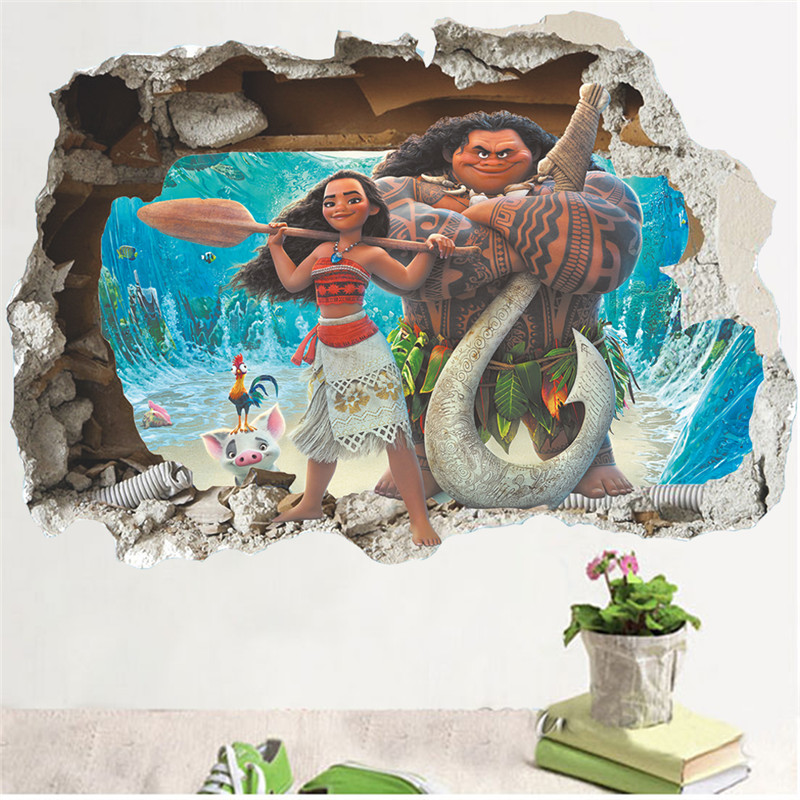 Cartoon Movie Moana Maui Movie 3D Broken Wall View Sticker Poster For Boys Girls Kids Room Home Decor Decal Mural