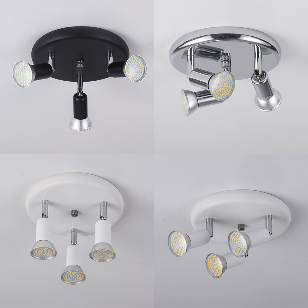 AC 90-260V LED Ceiling Light with 3 Swiveling Light Spots GU10 Ceiling Spot Lights for indoor Lighting Fixtures Decoration