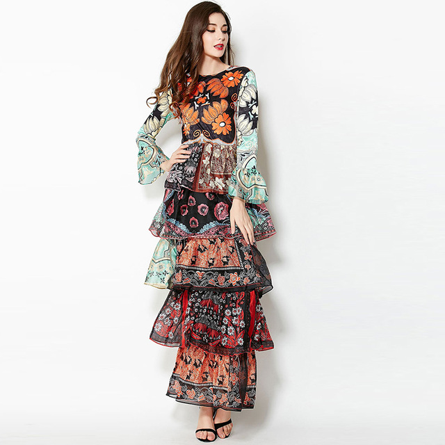 Chiffon Flare Sleeve Print Flower Boho Maxi Dress