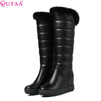QUTAA 2018 Fahion Women Knee High Snow Boots Slip On Wedges Heel Round Toe Women Shoes