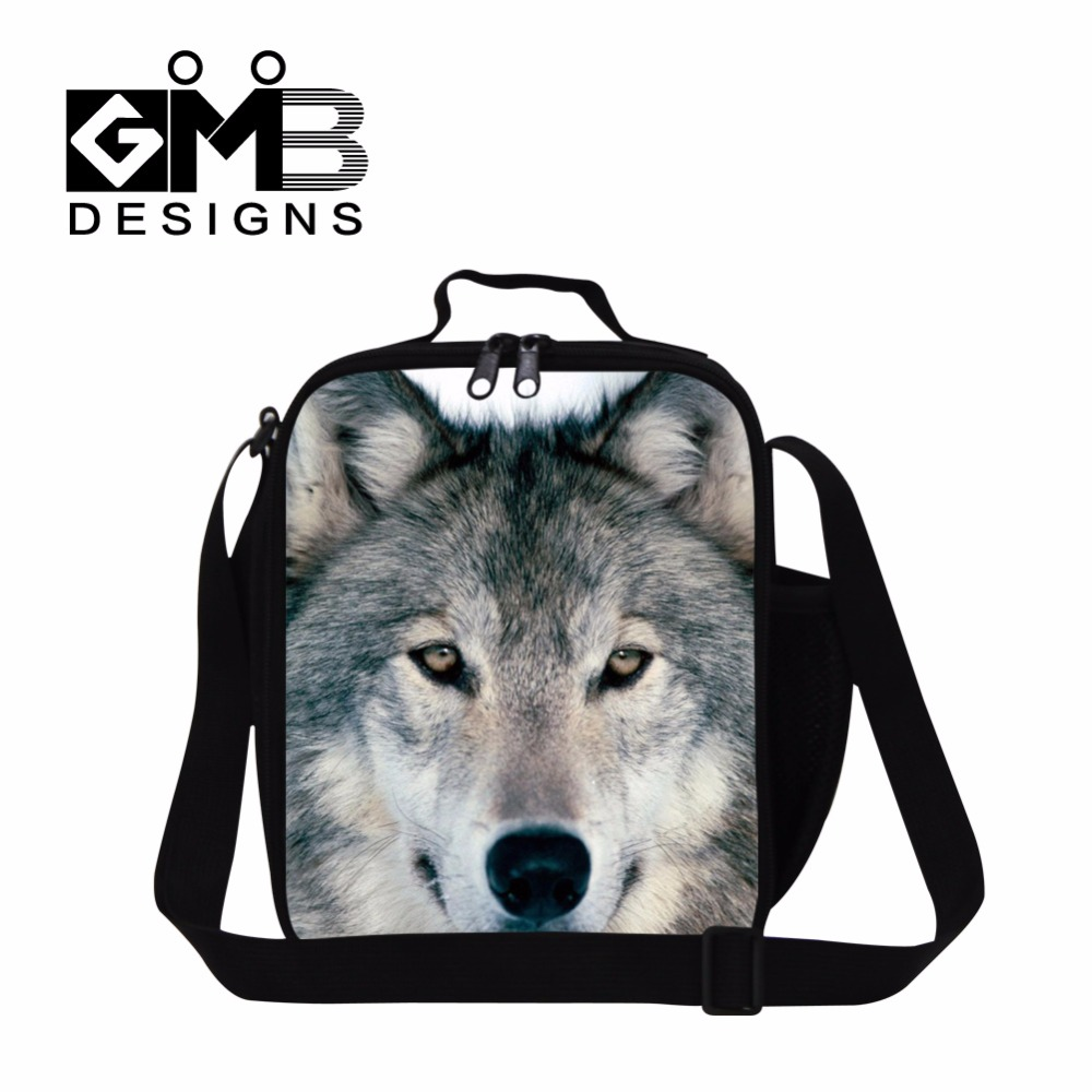 Wolf Printed cool lunch bags for kids small insulated bag for Boys,Mens Stylish Meal Bags,best lunch box bag with shoulder strap
