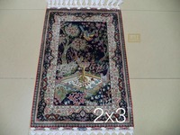 Free shipping 2'X3' 230 Line Handmade Silk Oriental Persian Rug hand Knotted silk carpet for home decoration