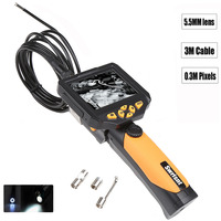 3 5 LCD Inspection Camera Borescope Endoscope Zoom Rotate Slim 5 5 Mm 3M Cable Torch