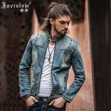 Vintage Mens Ripped Denim Jacket Brand Designer Fashion Washed Slim Fit Jean Jackets For Man