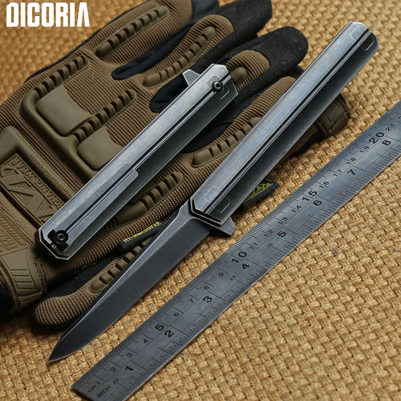DICORIA QM Qwaiken M390 blade TC4 titanium Tactical ball bearing Flipper folding knife camping outdoor survival knives EDC tools