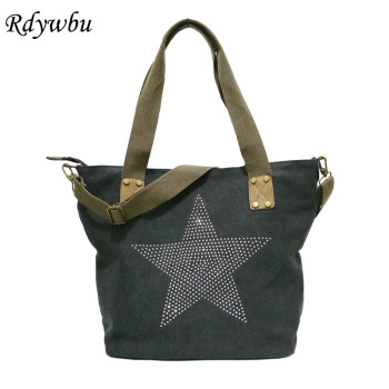 BIG STAR STUDDED GLITTER CANVAS HANDBAG - Multifunctional Travel Tote Shoulder Bag