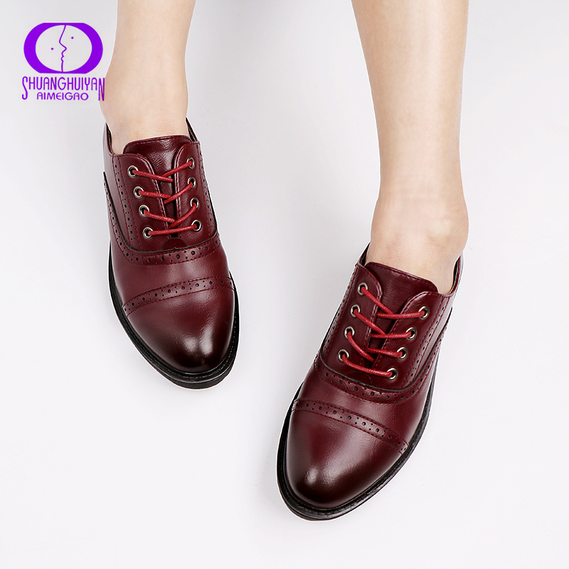 2019 Fashion Woman Spring Autumn Flat Oxford Shoes British Style Vintage Shoes Soft PU Leather Red Casual Retro Brogues