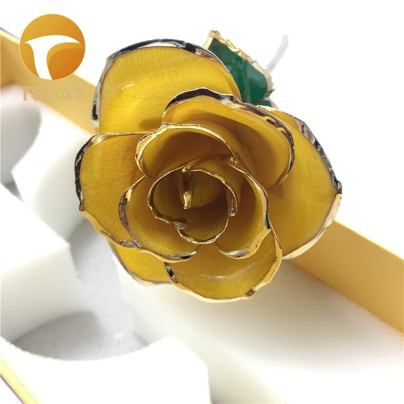 Módní Svatební návrat Dárek 24k Zlatá Růže Milovník Květ Zlatá Tlumená Rose Žlutá Umělá Květina Přijďte S Pěkným Boxem