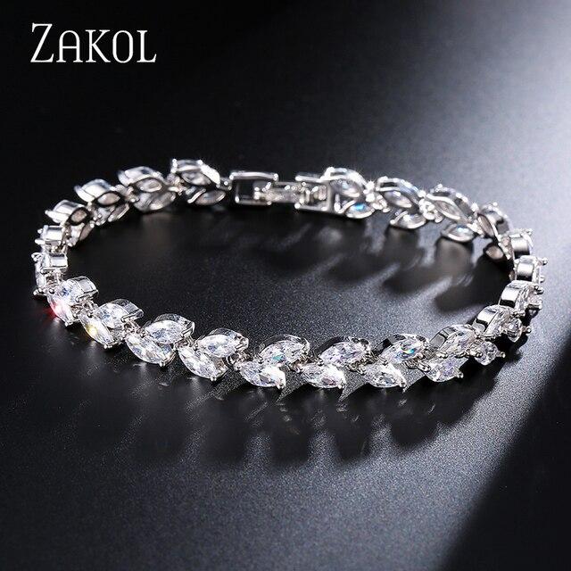 ZAKOL Trendy Bruid Sieraden Sliver Kleur Leaf Charm Zirconia Armband & Bangles Clear Cz Bangles Voor Vrouwen FSBP061