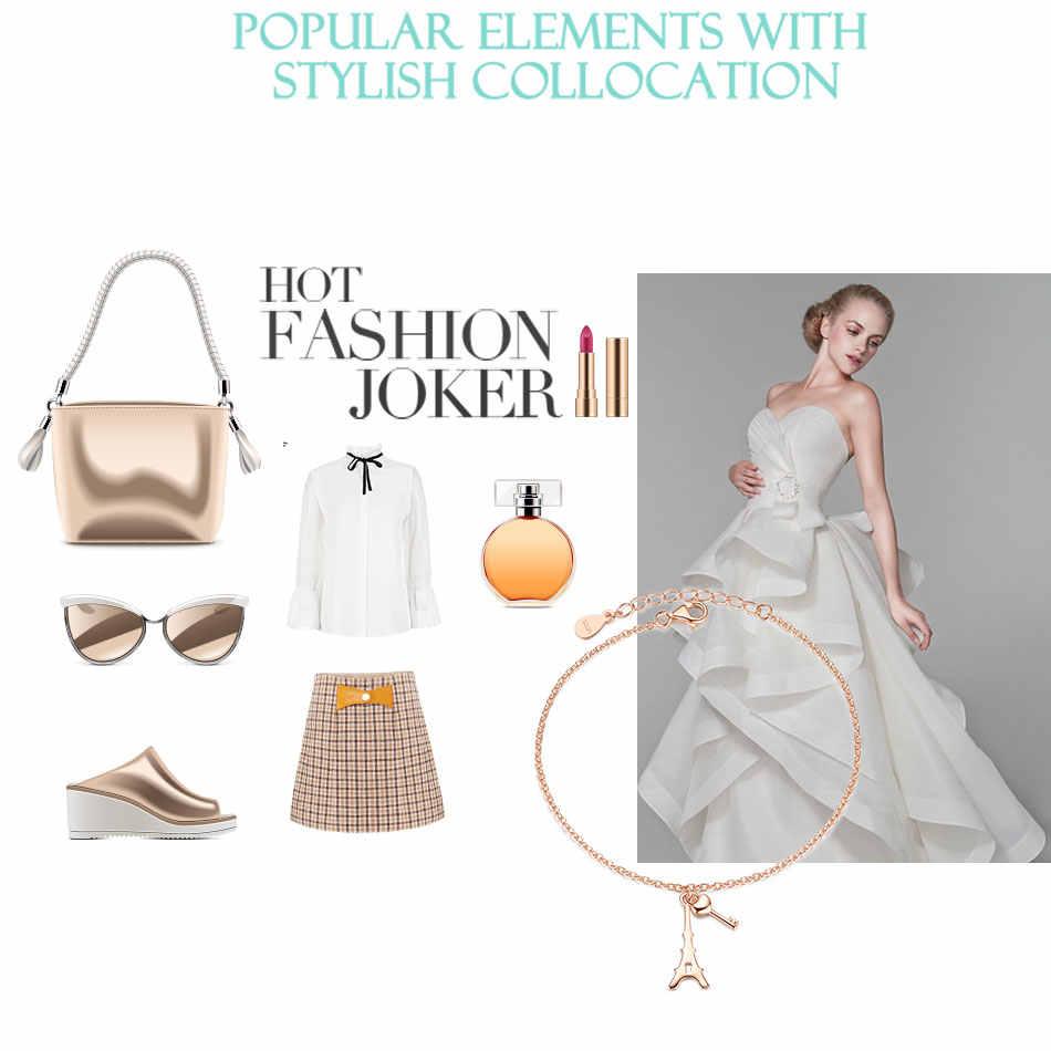 ELESHE luksusowe kryształowe bransoletki dla kobiet 925 Sterling srebra i złota róża paryż wieża eiffla bransoletka Charm bransoletka Bangle moda biżuteria
