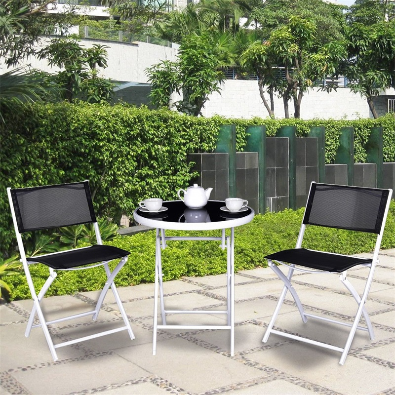 3 Pcs Folding Garden Backyard Patio Table Chairs Set Outdoor Garden Sets 1 Folding Coffee Table 2 Folding Chairs OP3355