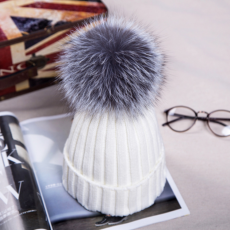 2018 Autumn New Women Silver Fox Fur Pompom Hat Female Winter Warm Cap Knitted Beanie Girl Pom Pom Ball Hats Woman Bonnet Perfect In Workmanship