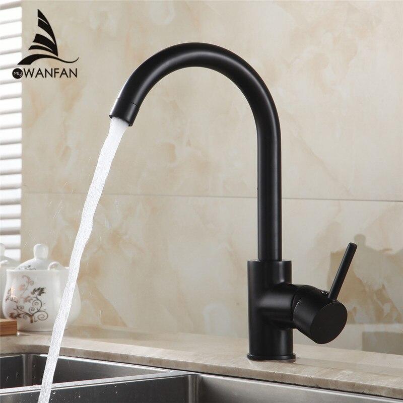 US $35.09 46% OFF|Küche Armaturen Schwarz Farbe Rotierenden Kupfer Kran  Küche Waschbecken Wasserhahn Heißen Und Kalten Wasser Messing Wasserhähne  ...