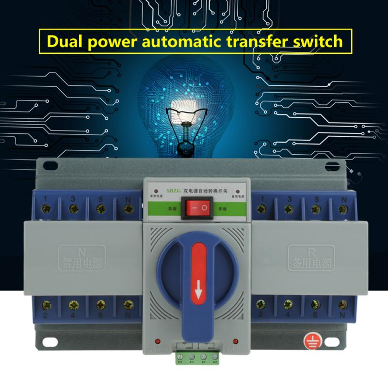 1 предмет 4 P мини двойной Мощность автоматической передачи выключатель 220 В АВР 63A