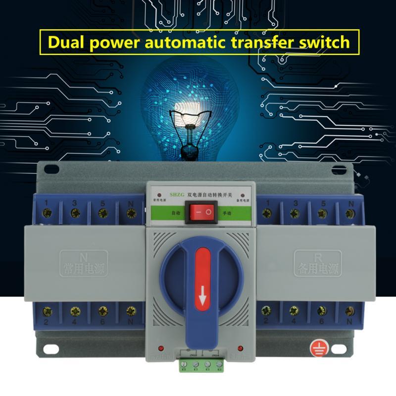 1 pc 4 p Mini Double Pouvoir Commutateur De Transfert Automatique Disjoncteur 220 v Commutateur De Transfert 63A