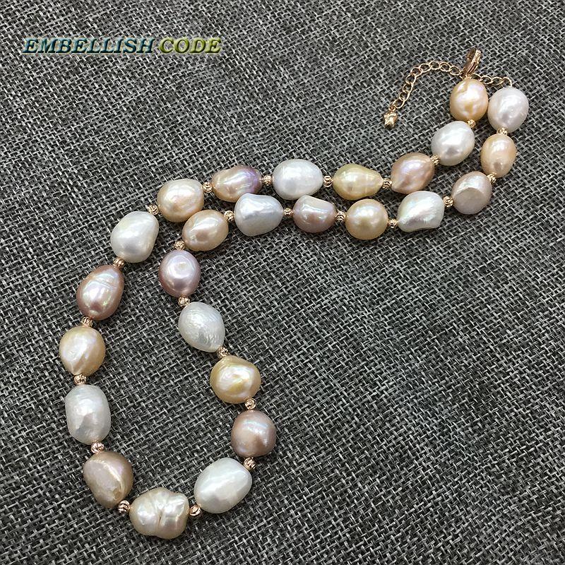 13a54a8f0c68 Especial semi barroca irregular Perla Rosa oro collar de perlas Mezcla  color blanco rosa púrpura stely perlas de agua dulce para mujer en  Gargantilla ...