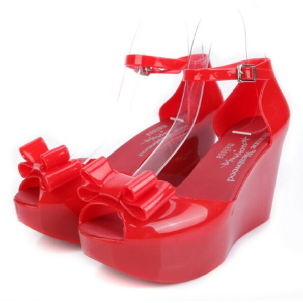 8a5ef976315b 2015 Bowknot Melissa Waterproof Plastic Shoes Wedges High Heel Platform  Women Peep Open Toe Wedge Heel Ankle Strap Jelly Sandals-in Women s Sandals  from ...