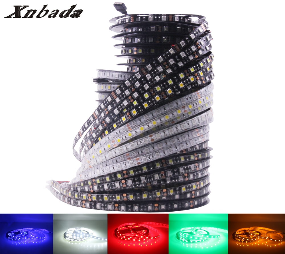 Xnbada DC12V Led Strip Light 5050SMD 60Led/m White/Warm White/Red/Green/Blue/Yellow/RGB IP30(Non)/IP65/IP67 Waterproof