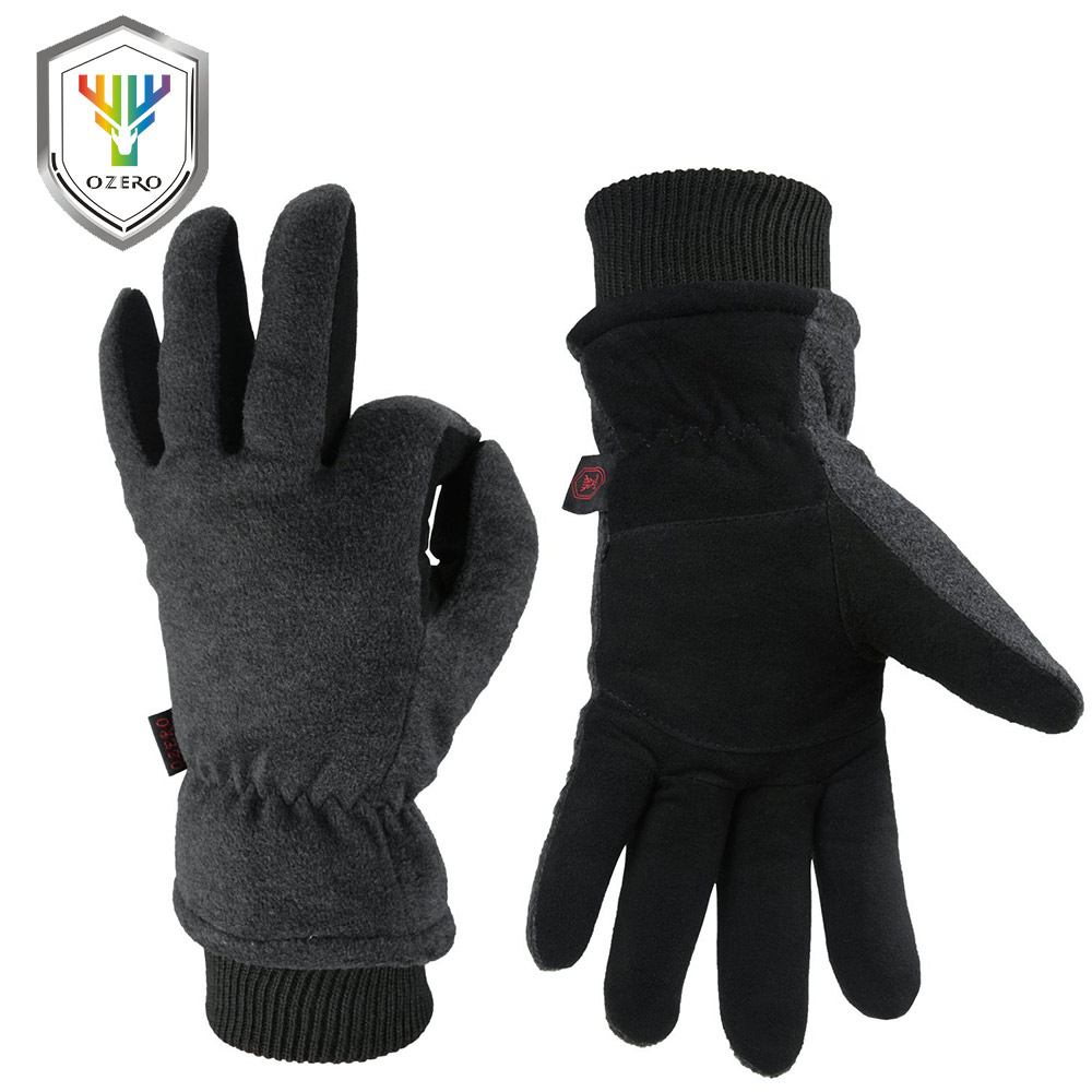 OZERO Deerskin leather Ski Skiing Gloves Winter Outdoor Sport Warm Windproof Warm Below Zero Cycling Gloves For Men Women 8008