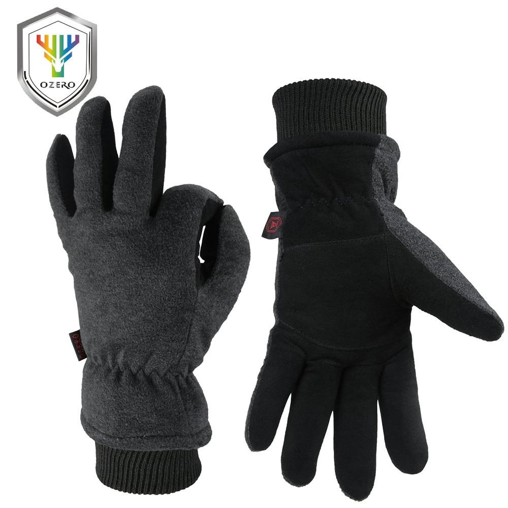 OZERO Deerskin Leather Ski Skiing Gloves Winter Outdoor Sport Warm Windproof Warm Below Zero Cycling Gloves For Men Women 8008