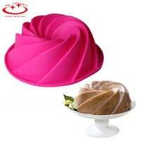 24,9*9 cm de silicona patrón en espiral Bundt Pan de Savarin pastel molde para mousse postre Brownie pastel decoración DIY hornear herramientas