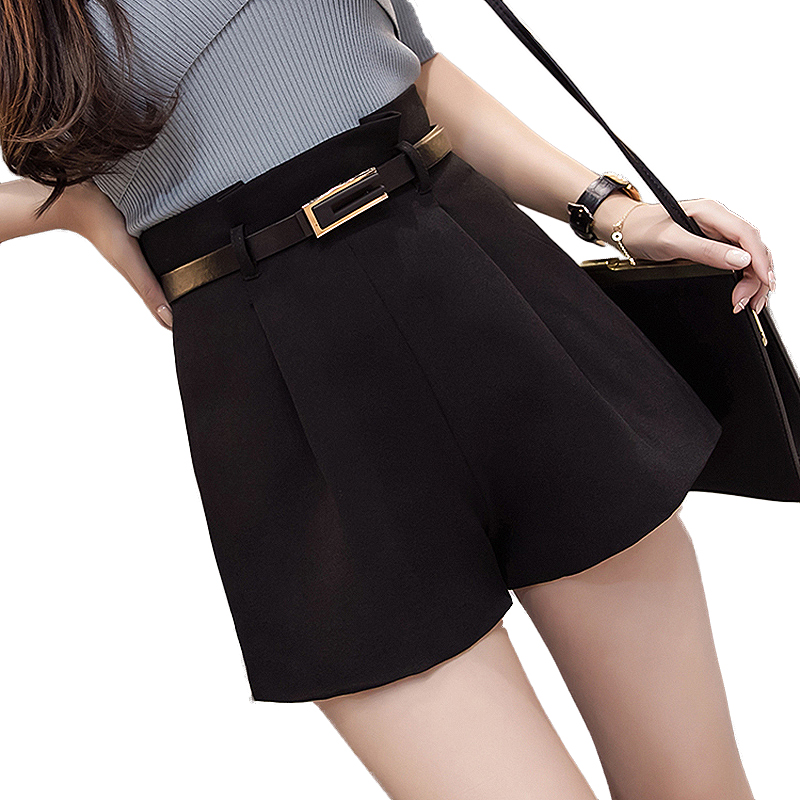 2019 New Arrival High Waist Shorts Women Summer Autumn WIde Leg Shorts With Belt Elegant Streetwear Plus Size Black Short Femme