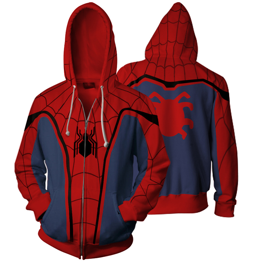 Autumn Homecoming Scarlet Spider Zip Up Hoodie Man Hoodies Sweatshirts Homecoming Spider Superhero Cosplay Hooded Zipper Jacket