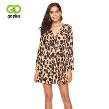 GOPLUS Sexy Leopard Print Chiffon Short Dress Women V Neck Long Sleeve Split Mini 2019 Spring A-line Party Vestidos Female