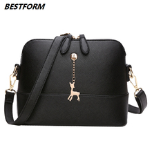 BESTFORM Women Bag Fawn Pendant Ladies Shoulder Leather Casual Womens Messenger Crossbody Bags Fashion Luxury Handbags