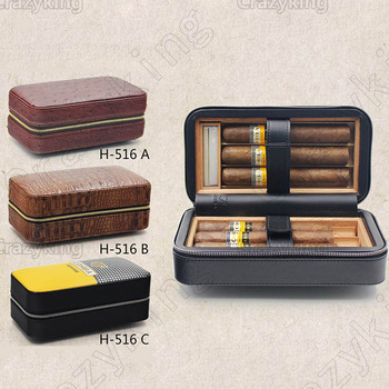 COHIBA Leather Lined Cedar Wood Zipper Travel Cigar Case Holder 6 Tube Humidor With Humidifier Siphon Set