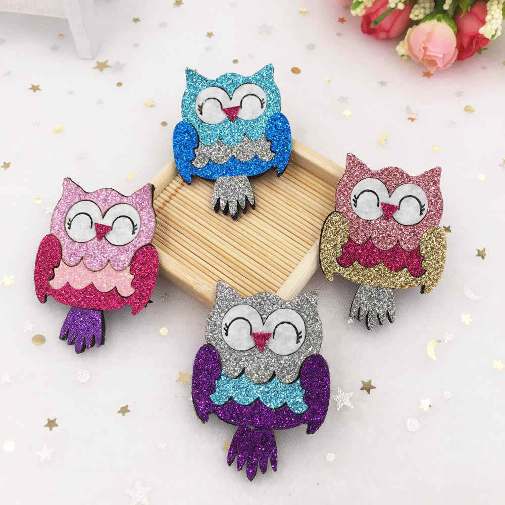 New 6pcs Glitter Paillette Felt Fabric Cute Owl Appliques Patches Wedding  DIY Hair Clip Accessories Craft 4a1bd31c6fdf