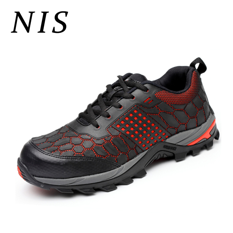NIS Lightweight Bulletproof Midsole Men Work Safety Shoes Men Boots Steel Toe Breathable Anti-smashing Casual Hiking Work Boots 2018 fashion safety shoes men breathable casual work shoes with steel safety toe lightweight wear resisting men safety boots