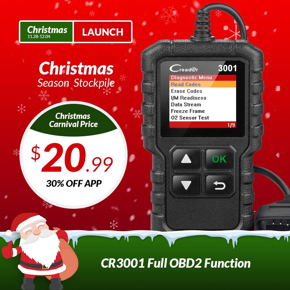 Lanzamiento de X431 Creader 3001 OBD2 OBDII lector de código escaneo herramientas OBD 2 CR3001 coche herramienta de diagnóstico PK AD310 ELM327 OM123 escáner