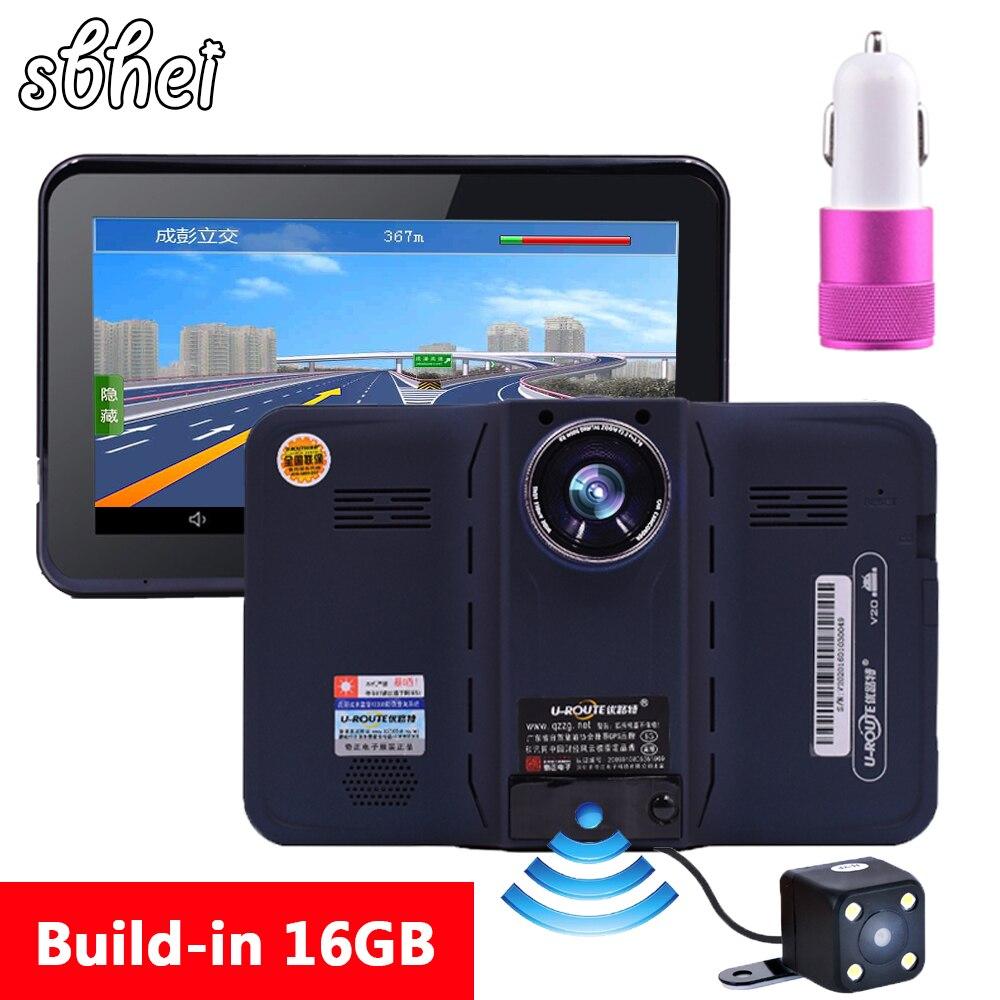 Sbhei 7 Inch GPS Navigation Android Radar Detector With DVR Rear View Automobile Navigator Europe Or Navitel Map Gps Sat Nav