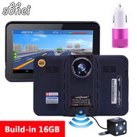 2016 7 Inch GPS Navigation Android Radar Detector With DVR Rear View Automobile Navigator Europe Or