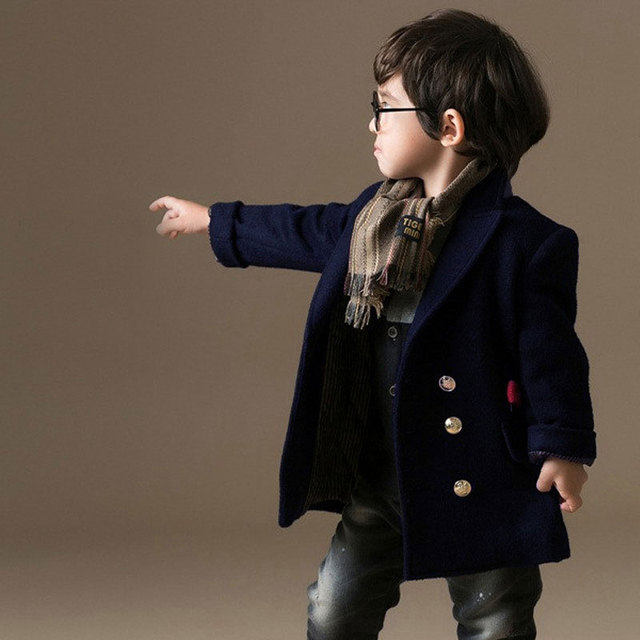 Kids Boys Woolen Winter Coat Single-breasted Warm 2017 New Fashion Children Thick Wool Coat Boys Wool Coat Kids Boy Clothes 4298
