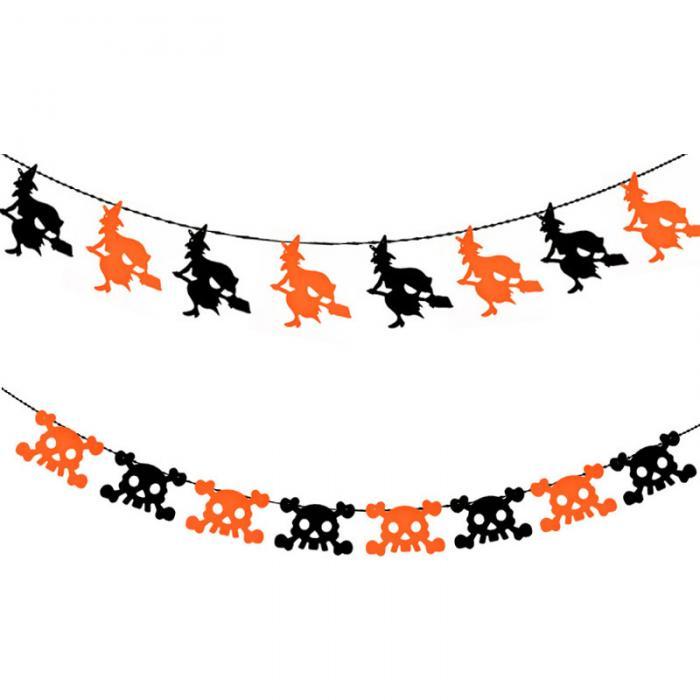 1 Unidades Halloween banderas colgantes no tejido Telas carta cráneo ...