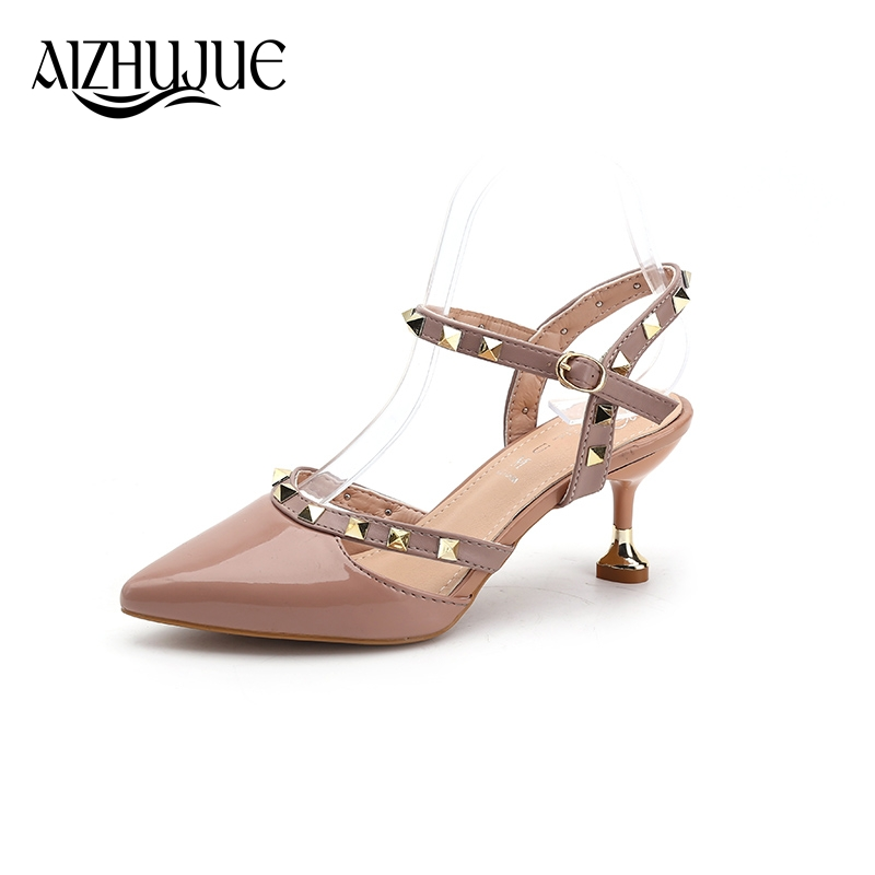 Ladies Sexy Pumps 2018 Summer Style Pointed Toe Fashion Buckle Studded Stiletto High Heel Sandals Women Party Pumps Shoes womens fashion high heel strappy crossover barely there buckle party stiletto sandals shoes xd195